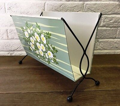 Vintage Retro 1950's/Mid Century Kitsch Floral Metal Magazine/Newspaper Rack