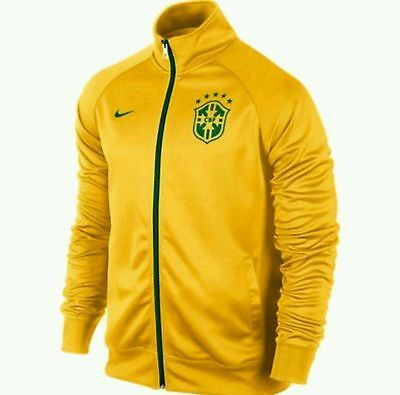 Nike Brazil Football Training Men's Small & Large Zip Up Track Top Jacket Yellow