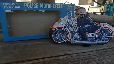 New VINTAGE TIN LITHO TOY FRICTION POWERED JAPAN POLICE MOTORCYCLE IN BOX