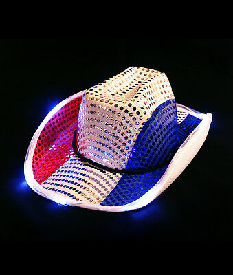 Adult Patriotic 4th of July  Independence Day Light Up Cowboy Hat Costume party