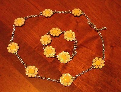 Gymboree A Pop of Daisies necklace bracelet silver white yellow daisy flower set