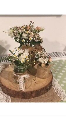 Set Of 8 Log Slice Centre Pieces 30-35cm Wood Wedding Display Approx 4cm thick