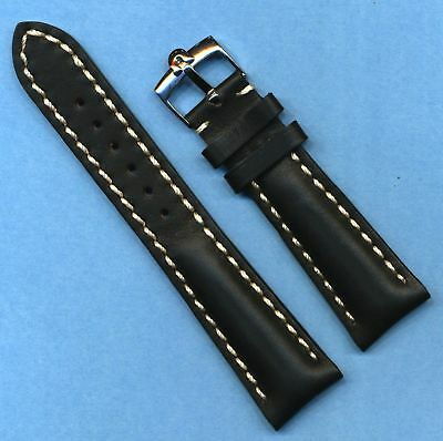 GENUINE OMEGA STEEL BUCKLE & 18mm GEN. BLACK LEATHER VERY PADDED MB BAND STRAP