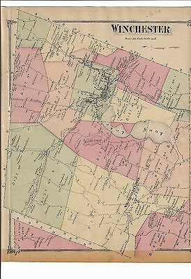 VINTAGE 1874 Winchester, CT. Map  with Homeowners Names Shown  NOT A REPRINT