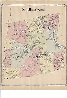 VINTAGE 1874, New Hartford, CT. Map  with Homeowners Names Shown  NOT A REPRINT