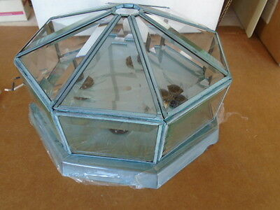 Copper Patina Green Colored Beveled Glass Ceiling Light Fixture