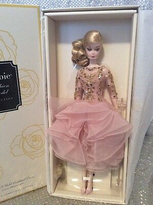 Blush & Gold Cocktail Dress Barbie Doll 2016 Gold Label Dwf55  Mint Nrfb