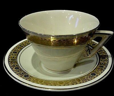 Vintage Burleigh Ware Zentih England Cup and Saucer Set Gold Encrusted Ivory