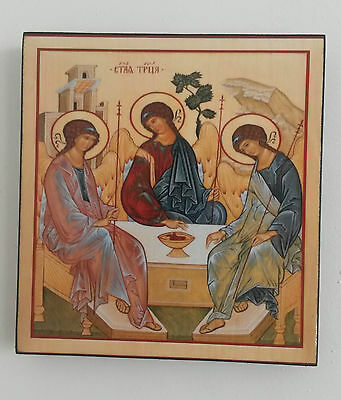 The Holy Trinity Handmade Wooden Orthodox Icon of Christianity 16x15x2