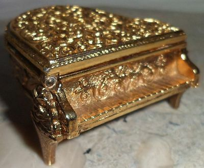 Vintage Gold Tone Baby Grand Piano Solid Perfume Holder Collectible Womens Avon