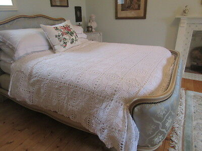 """A Beautiful French Hand Crochet Double Bedspread  92"""" x 88.5"""""""