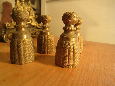 2 Pairs of Antique Solid Cast Bronze Curtain Pulls in the form of tassels
