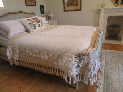 """A Beautiful Filet Lace and crochet, French Hand Made Bedspread  91"""" x 78"""""""