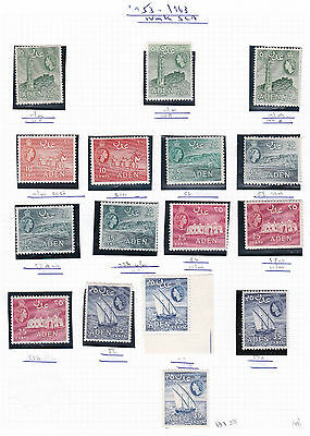 British Commonwealth. Aden. THREE PAGES QEII Shades to 20/- x3.