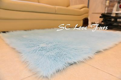 "58"" x 72"" A34 Rectangle Shaggy Faux Fur Area Rug Assorted Colors 1"" PlushFurEver"