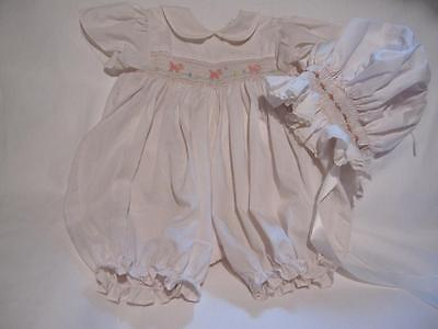 Vintage Petit Ami Pink Girl Smocked Romper With Smocked Bonnet Pink Accents Chic