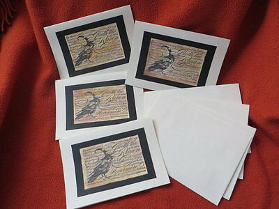 Handmade Nevermore Cards, Set of 4 Poe Raven Cards, Handstamped Halloween Cards