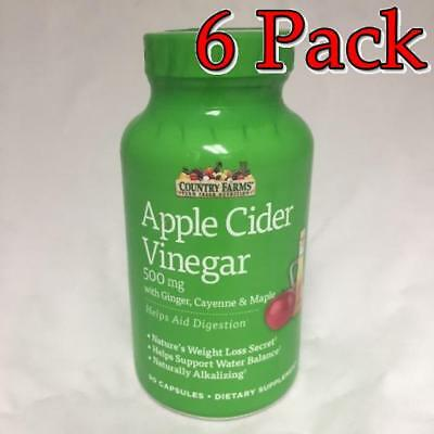 Country Farms Apple Cider Vinegar Caps, 500mg, 90ct, 6 Pack 035046098780A599