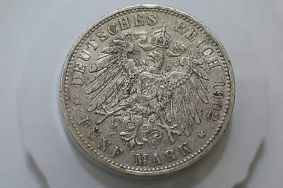Germany Prussia 5 Mark 1902 A Nice Details Silver A64 #z2380