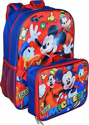 Disney Mickey Mouse Boys Blue School Backpack Lunch Box SET Book Bag Kids