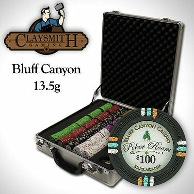 NEW 500 PC Bluff Canyon 13.5 Gram Clay Poker Chips Set Claysmith Case Pick Chips