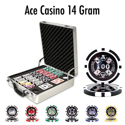 NEW 500 Piece Ace Casino 14 Gram Clay Poker Chips Set with Claysmith Case Custom