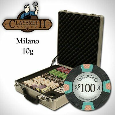 NEW 500 Pc Milano Pure Clay 10 Gram Poker Chips Set Claysmith Case Pick Chips