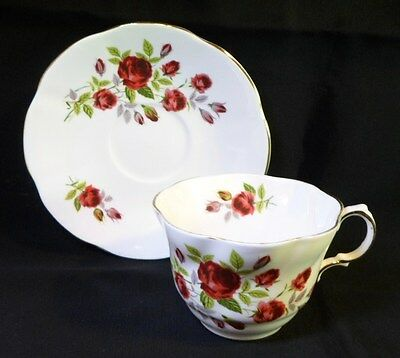 Vintage ROYAL CREST BLOOD RED ROSES TEA CUP And SAUCER English Fine Bone China