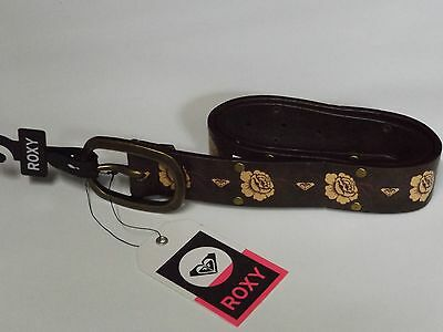 Roxy Roses Brown Leather Look Belt Size S 12/14 Nwt 4 Jeans Brass Studs
