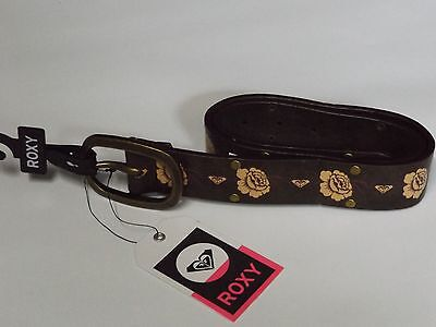 Roxy Roses Synthetic Leather Belt Teen Size Nwt Big Buckle 4 Jeans Brass Studs