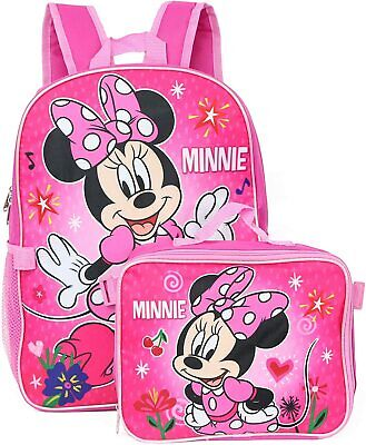 Disney Minnie Mouse Girls Glossy Pink Pre School Backpack Lunch Box Book Bag SET