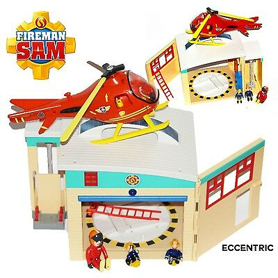 Fireman Sam TOY PONTYPANDY PLAYSET RESCUE FIRE STATION & HELICOPTER FIGURES