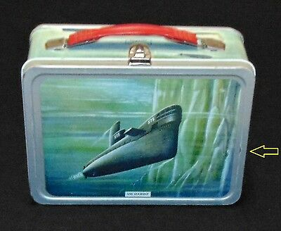 Vintage COMPLETE Submarine USS SEAWOLF WASHINGTON Navy lunchbox THERMOS cup lid