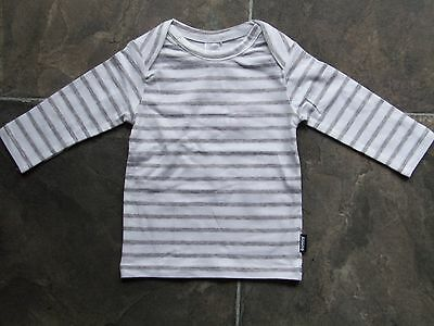 BNWT Baby Boy's Bonds Grey & White Stretchies Long Sleeve Cotton Top Size 0