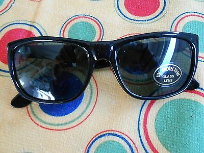 Sunglass - Classic 50's Style Cat 3M - Real Glass With G15 Lens - Polished Ebony