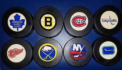 OLD VINTAGE VICEROY OFFICIAL GAME PUCK LOT OF 8 blank backs TEAM