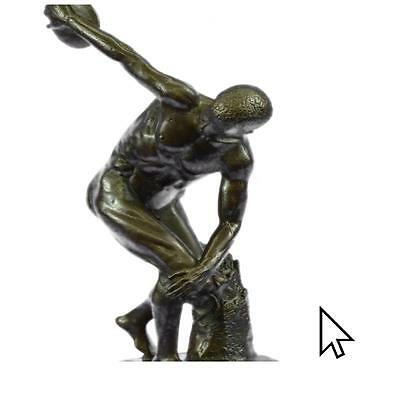 Sensual Nude Male Discus Thrower Discobolus Famous Greek Bronze Marble  A