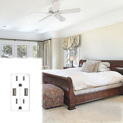 2.1A  US Plug Panel Switch Socket Power Outlet Dual USB Port Wall Charger
