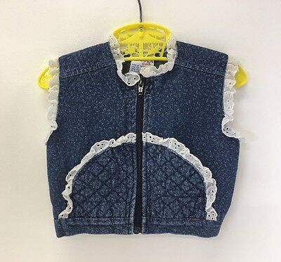 Vintage Denim Vest | Size 12 Months | White Eyelet Lace | 80's | Sleeveless Jean