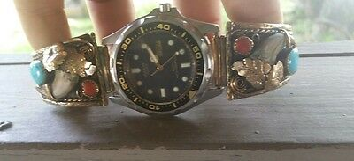 Robert Charlie Claw Watch Navajo Indian Sterling 12k marked Signed  Mens Gents