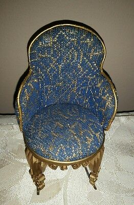 Vintage Miniature Doll House Rocking Chair or Pin Cushion Blue Gold