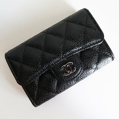BN CHANEL 'o case card holder' black silver caviar wallet cc coin purse quilted