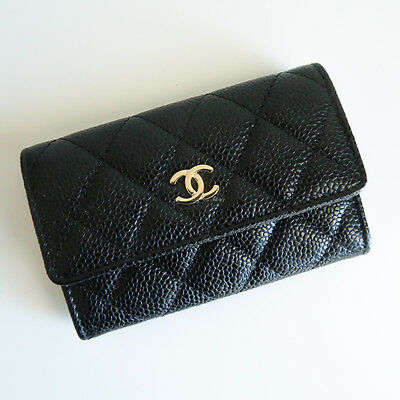 100% authentic CHANEL card holder black caviar leather gold hardware coin purse