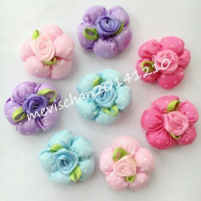 10PCS Flower Pet Dog Hair Bows rubber bands Accessories Grooming Bowknot lot