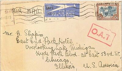 South Africa 2/6 Trekking 1945 Capetown Airmail to Chicago with red boxed O.A.T.