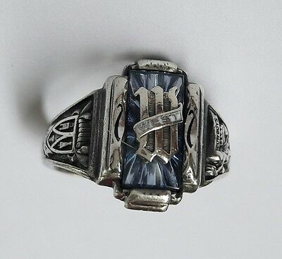 Vtg Sterling Silver JOSTENS West Cowboys High School CLASS Ring Aqua Blue Stone