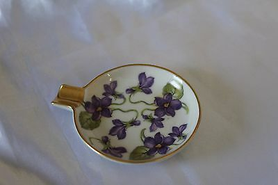 Vintage Mitterteich Bavaria Germany Small Ashtray w/ Purple Violets Gilded
