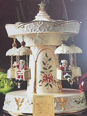Lenox Musical Holiday Carnival Swing Carousel Santa Mrs Claus Bear Mint in Box