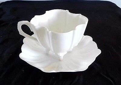 T&V France WHITE FOOTED TEA CUP & SAUCER Vintage Limoges Porcelain