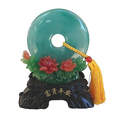 """9.5"""" Chinese Display Plate with Peony Flower and Stand"""